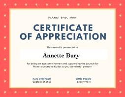 Certificate of appreciation AB