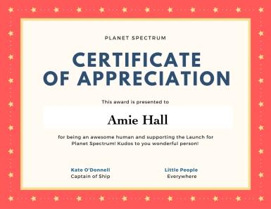 Certificate of appreciation AH