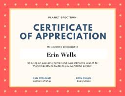 Certificate of appreciation EW-2