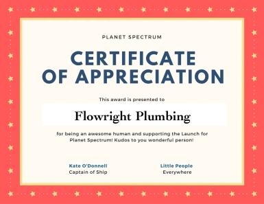 Certificate of appreciation FP