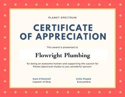 Certificate of appreciation JW