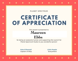 Certificate of appreciation ME