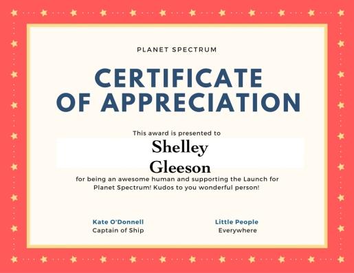 Certificate of appreciation SG