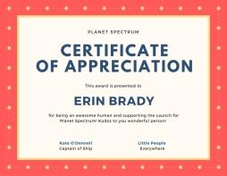 Certificate of appreciationEB
