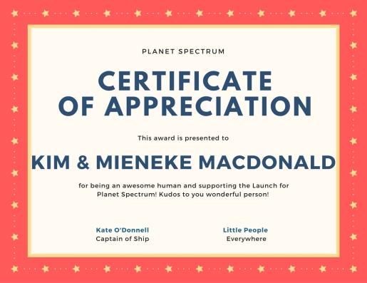 Certificate of appreciationKM