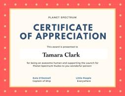 Certificate of appreciationTC